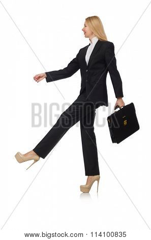Woman businessman isolated on white