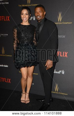 LOS ANGELES - JAN 10:  Corinne Bishop, aka Corinne Foxx, Jamie Foxx at the Weinstein Company & Netflix 2016 Golden Globe After Party at the Beverly Hilton on January 10, 2016 in Beverly Hills, CA