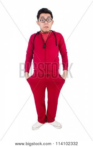 Funny sportsman isolated on white