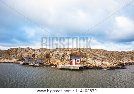 Houses on island in Gothenburg, Sweden