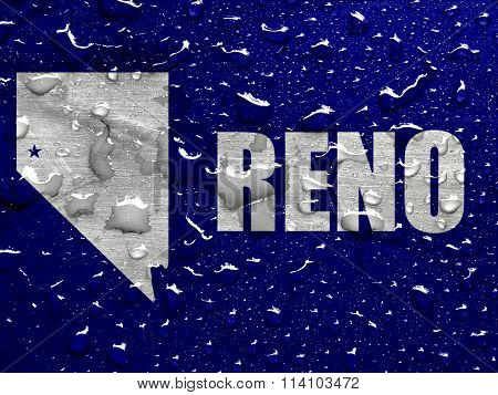 flag of Reno with rain drops