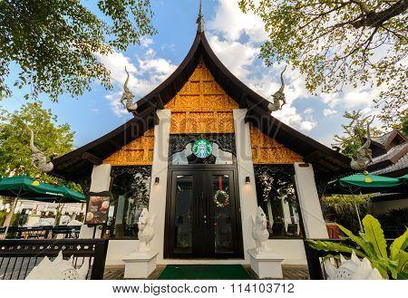 Thailand Lanna style architecture Starbucks