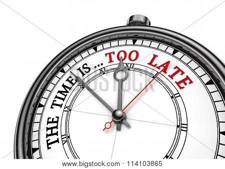 Time Is Too Late Red Message On Concept Clock