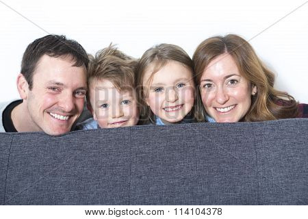 Nice family sit on the livingroom sofa