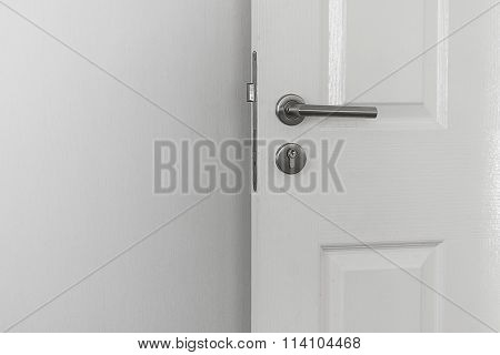 Handle Knob And White Door On The White Wall Background