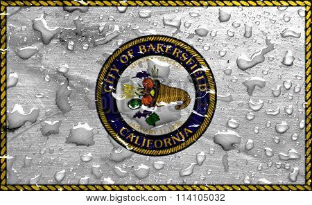 flag of Bakersfield with rain drops