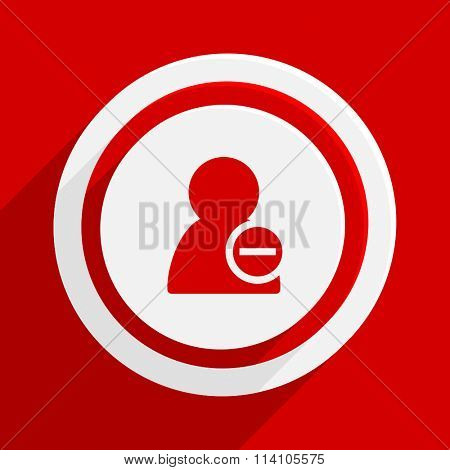 remove contact red flat design modern vector icon for web and mobile app
