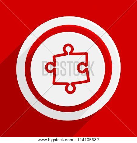 puzzle red flat design modern vector icon for web and mobile app