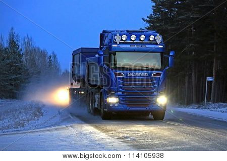 Blue Scania Combination On A Winter Night