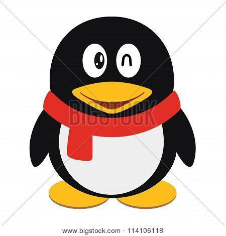 Vector icon illustration of a cute cartoon penguin with scarf isolated