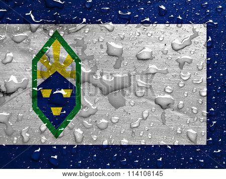 flag of Colorado Springs with rain drops