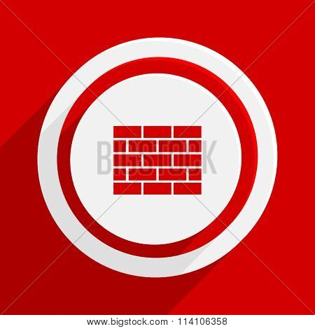 firewall red flat design modern vector icon for web and mobile app