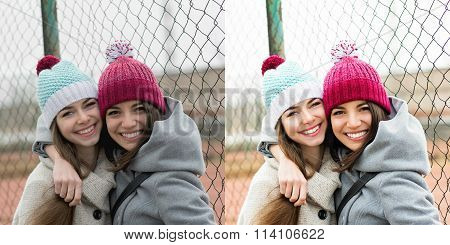 Two teenage girls with beanies with and without filter