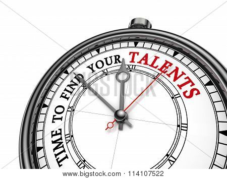 Time To Find Your Talent Motivation On Concept Clock