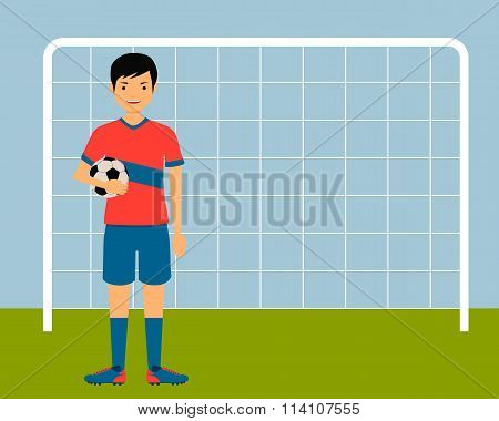 Football player holding the ball against the background of the gates. Vector illustration