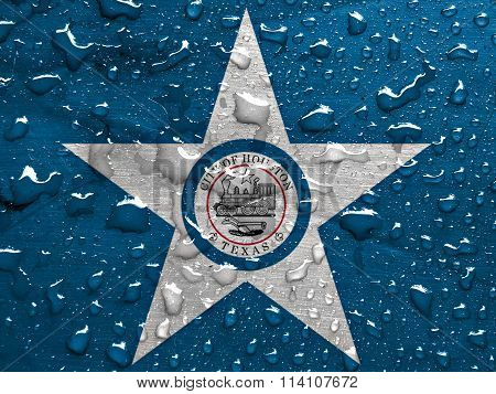 flag of Houston with rain drops