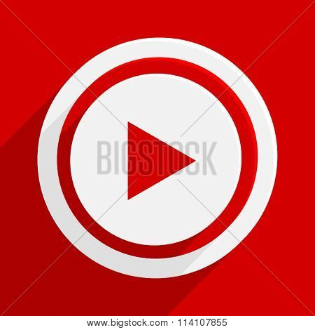 play red flat design modern vector icon for web and mobile app