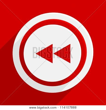 rewind red flat design modern vector icon for web and mobile app