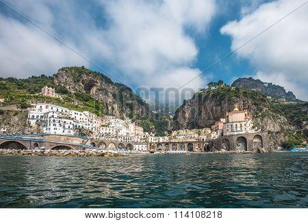 Panoramic View Of Atrani, The Amalfi Coast, Italy