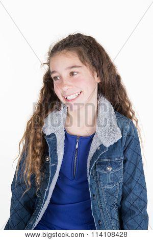 Beautiful Girl Body In Denim Jeans  Jacket