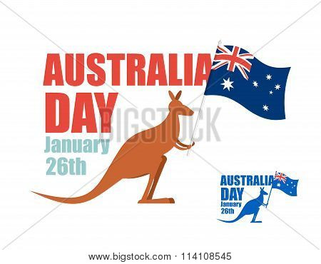 Australia Day. Illustration For Patriotic Holiday Of Country. Kangaroo Holding Flag Of Australia. Hi