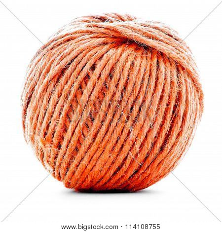 Orange Traditional Clew, Sewing Yarn Ball Isolated On White Background