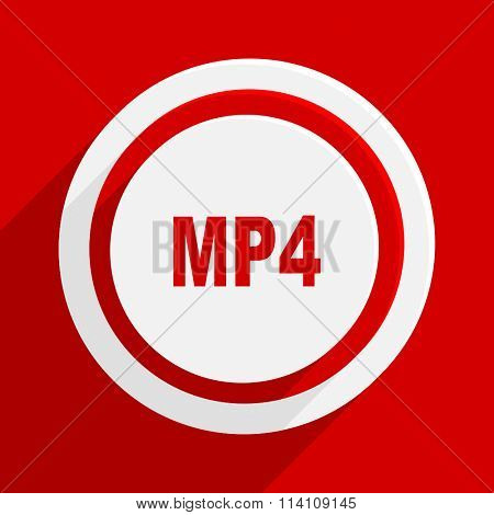 mp4 red flat design modern vector icon for web and mobile app