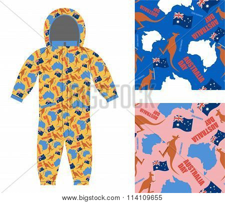 Australia Day Kids Overall. Textures Set Kangaroo And Map Of Australia Seamless. Flag Of Australia A