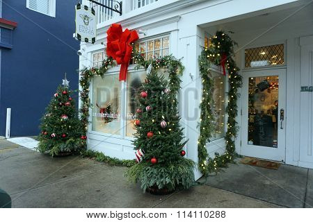 Christmas Tree in Front of Small Batch Restaurant