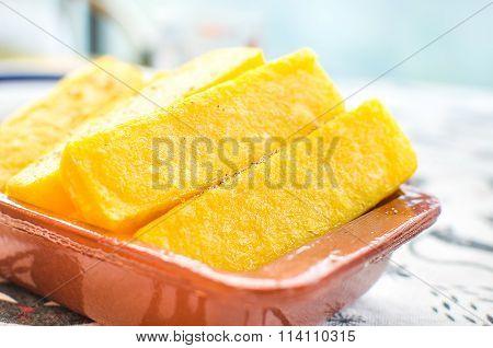 Cornmeal Mush Slices Closeup