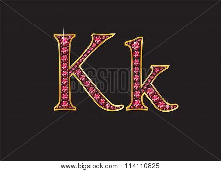 Kk Ruby Jeweled Font With Gold Channels
