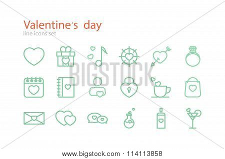 Valentine's Day. Line icons set. Stock vector.