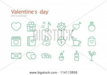 Valentine's Day. Line icons set. Stock vector.