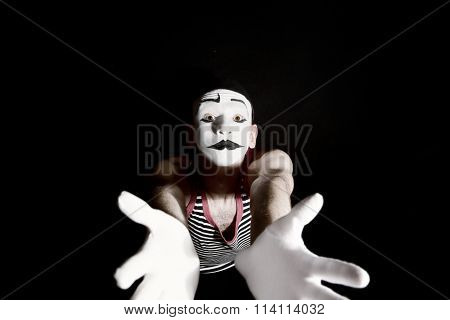 Sad Mime On Black Background
