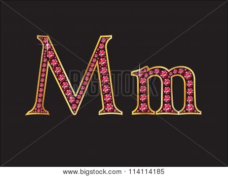 Mm Ruby Jeweled Font With Gold Channels