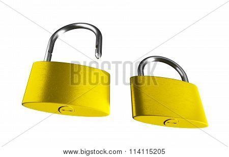 3D Render Image Of Locked And Unlocked Golden Padlocks Isolated On The White Background