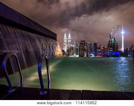 Kuala Lumpur Skyline with Rooftop Pool View
