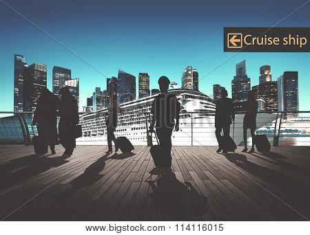 Business People Traveling Passenger Walking Cruise Ship Concept
