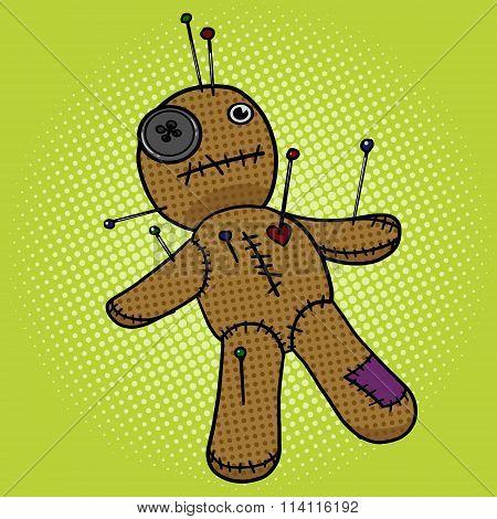 Voodoo Doll pop art style vector illustration