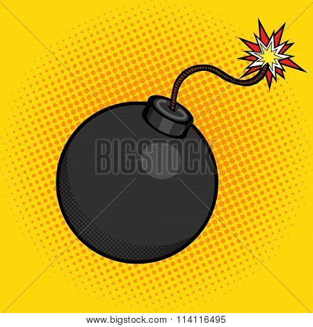 Cartoon bomb with fire pop art style vector