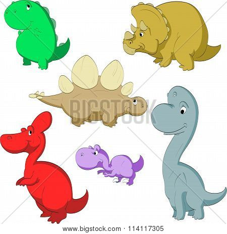 Cartoon cute dinosaurs.