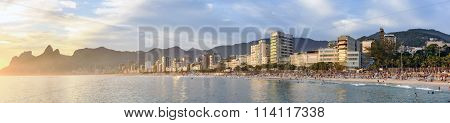 Panoramic image of Ipanema Leblon and Arpoador beaches