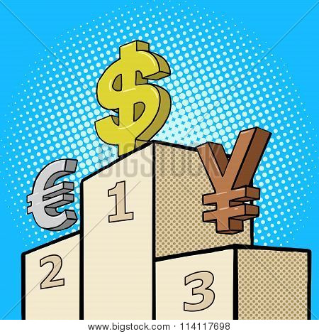 Pedestal with currency sign pop art style vector