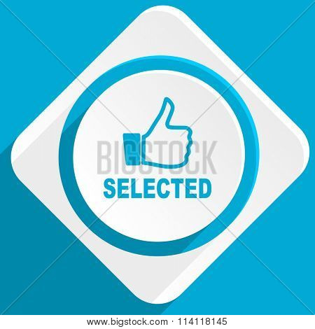 selected blue flat design modern icon for web and mobile app