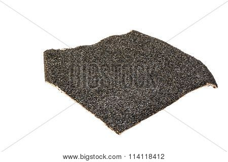 A piece of black sandpaper