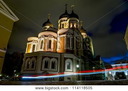 View Of Alexander Nevsky Cathedral In Tallinn In The Evening Light .estonia.