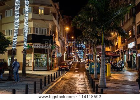 Iluminated chritmas night streets of Santa Cruz de Tenerife