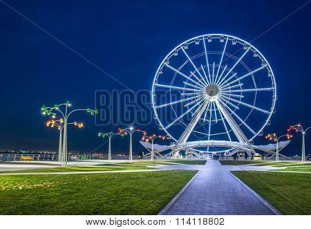 Ferris wheel at sea boulevard in Baku Azerbaijan