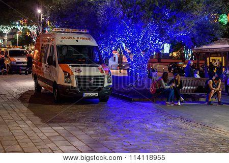 Ambulance car at night street of Santa Cruz de Tenerife