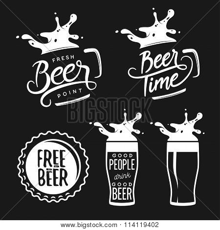 Beer related typography set. Vector vintage lettering illustration.